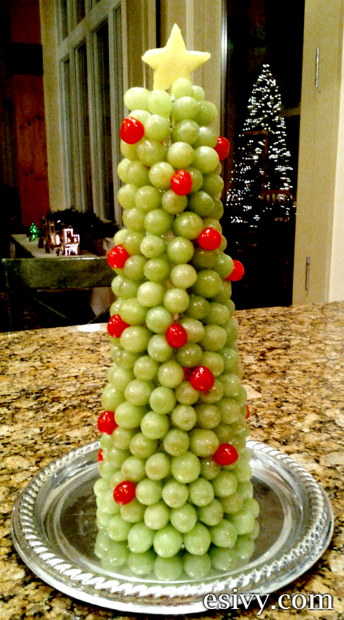 An impressive d fruit display a grape and cherry