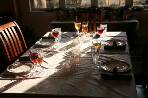 Our Christmas table. Sparkling fruit juice always adds a pretty touch.
