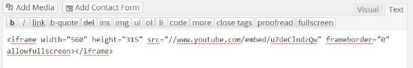 youtube video in wordpress paste