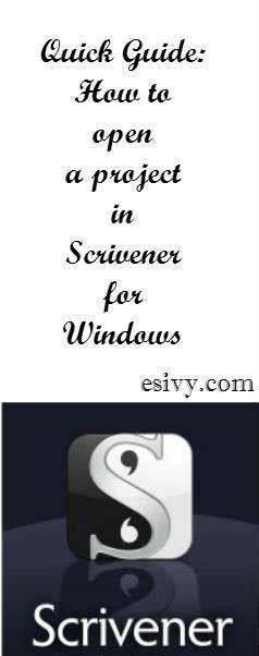 scrivener quick guide to open files