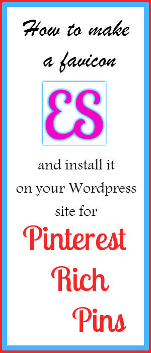 Tutorial for how to design a quick favicon logo for your website and install it on your WordPress blog for Pinterest Rich Pins.